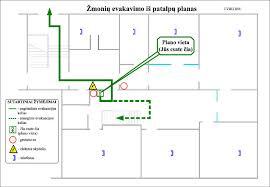 Paprasti spalvoti evakuaciniai planai